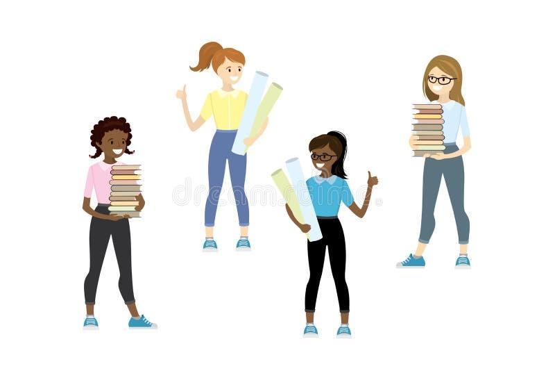 Ajuste das meninas caucasianos e afro-americanos do adolescente ilustração do vetor