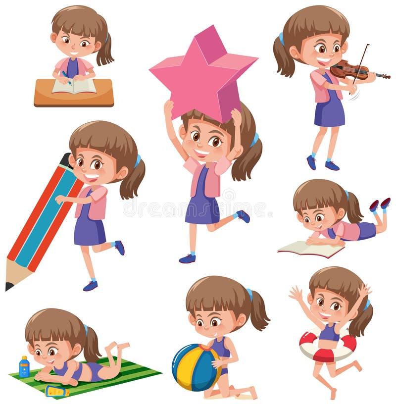 Ajuste das meninas que fazem activitys ilustração do vetor
