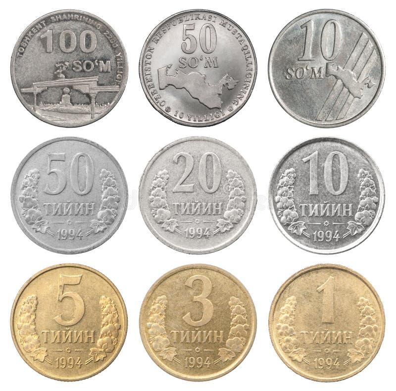 Ajuste das moedas do uzbek fotografia de stock royalty free