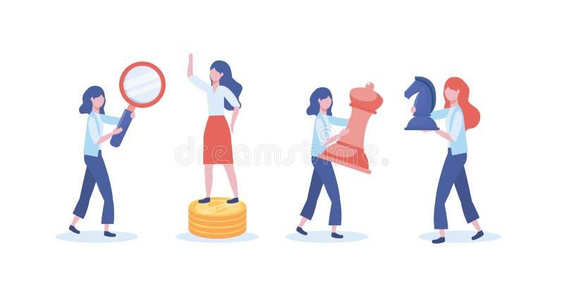 Ajuste das mulheres de negócios com lupa e rainha com xadrez do cavalo ilustração stock