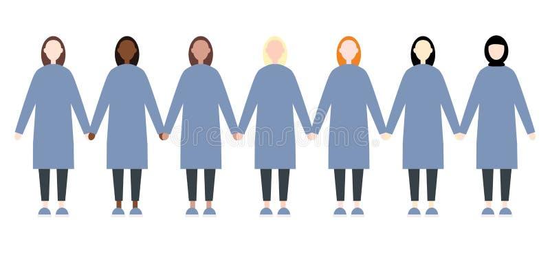 Ajuste das mulheres diversas da raça Estilo liso moderno bonito e simples ilustração do vetor