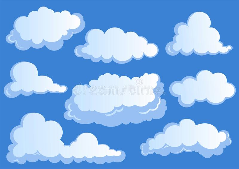 Ajuste das nuvens brancas, ícones da nuvem no fundo azul ilustração royalty free