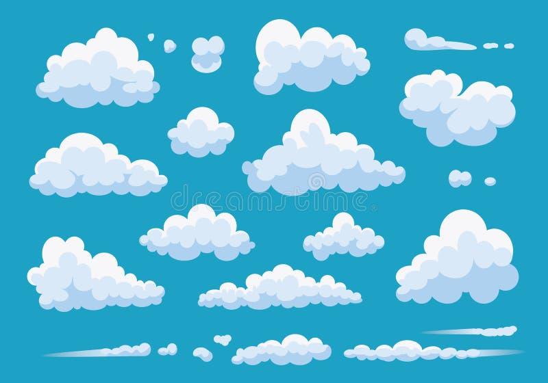 Ajuste das nuvens dos desenhos animados isoladas no fundo azul Ilustra??o branca da nuvem da cole??o do vetor C?u nebuloso azul ilustração stock