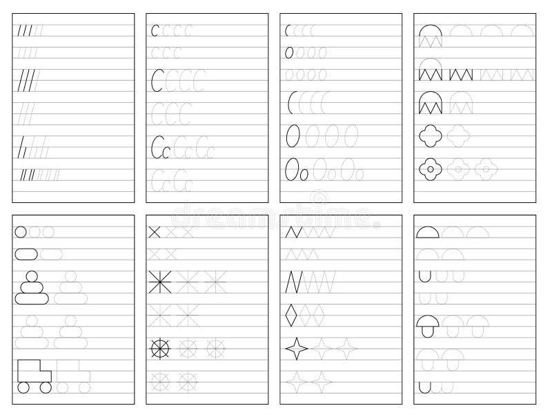 Ajuste das páginas educacionais preto e branco na linha para crianças Folha imprim?vel para o livro de texto das crian?as ilustração stock