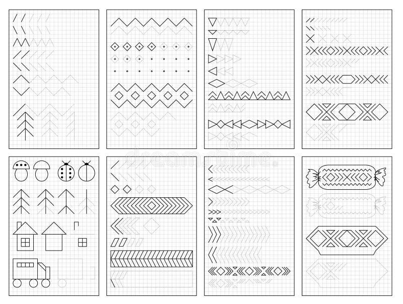 Ajuste das páginas educacionais preto e branco no papel quadrado para crianças Folha imprim?vel para o livro de texto das crian?a ilustração do vetor