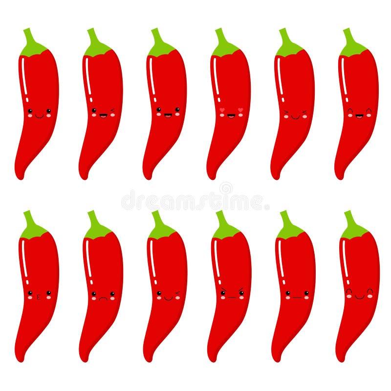 Ajuste das pimentas encarnados do smiley bonito Ajuste da pimenta de Emoji Frutos do sorriso ilustração royalty free
