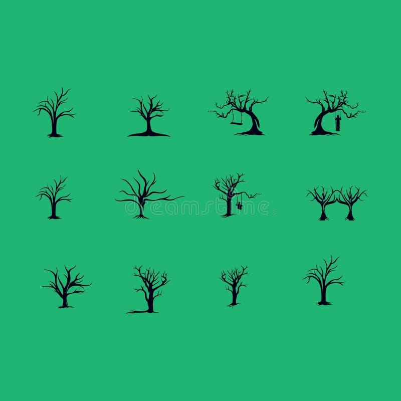Ajuste das plantas e do logotipo da árvore ilustração royalty free