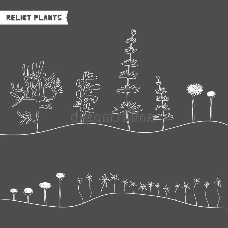 Ajuste das plantas tiradas mão do relict Plantas jurássicos do esboço Coleção de árvores pré-históricas dos desenhos animados da  ilustração royalty free