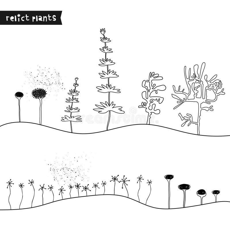 Ajuste das plantas tiradas mão do relict Plantas jurássicos do esboço Coleção de árvores pré-históricas dos desenhos animados da  ilustração do vetor