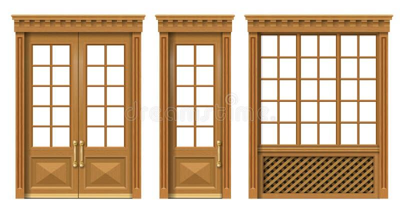 Ajuste das portas e das janelas de madeira clássicas ilustração royalty free