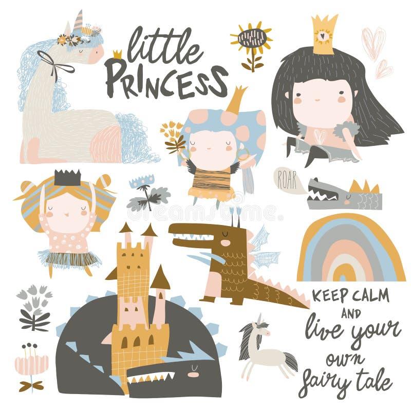 Ajuste das princesas pequenas bonitos, dos dragões e dos unicórnios mágicos no fundo branco ilustração stock