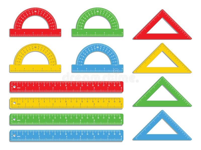 Ajuste das réguas coloridas realísticas marcadas na polegada e os centímetros com prolongadores coloridos e os triângulos isolado ilustração do vetor