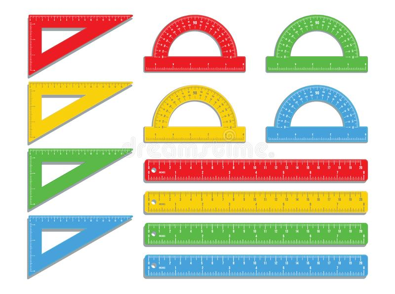 Ajuste das réguas, dos prolongadores realísticos e dos triângulos coloridos plásticos isolados no fundo branco Ferramenta de medi ilustração stock