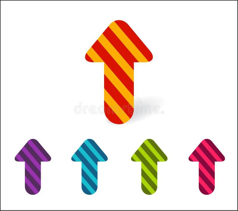 Ajuste das setas coloridas que apontam acima Setas listradas brilhantes novas para ilustração stock