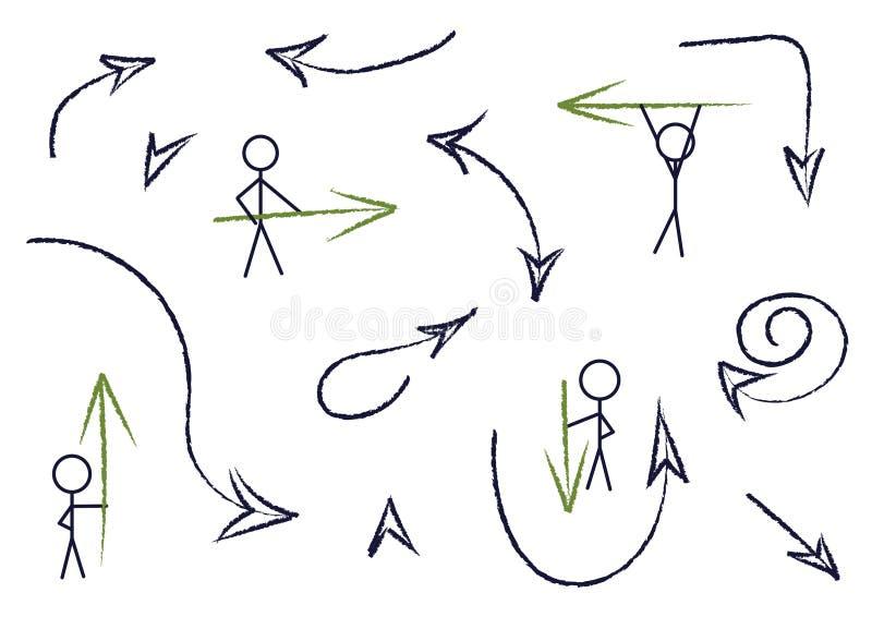 Ajuste das setas tiradas mão, ilustração ilustração stock