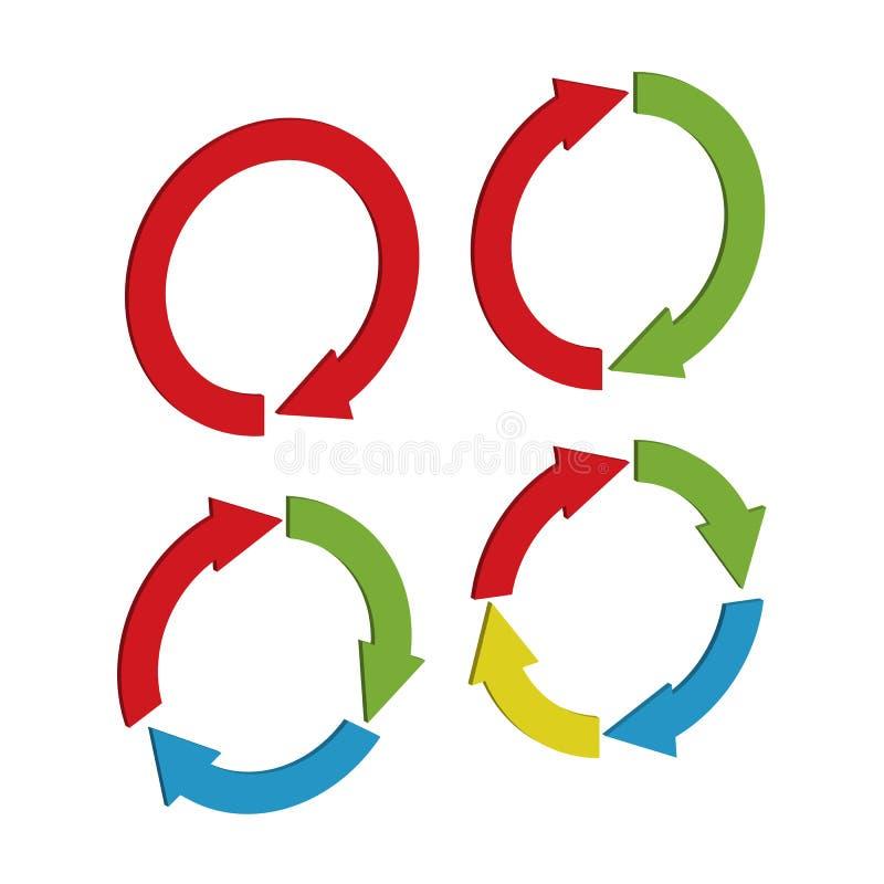 Ajuste das setas tridimensionais circulares de formas e de configurações diferentes para o projeto ilustração do vetor