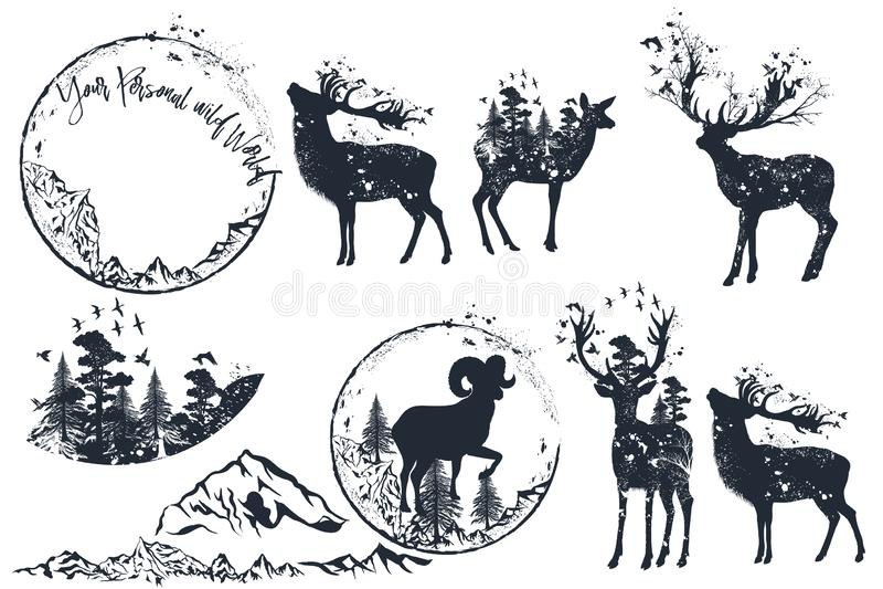 Ajuste das silhuetas artísticas dos cervos do vetor para o projeto, estilo retro ilustração stock