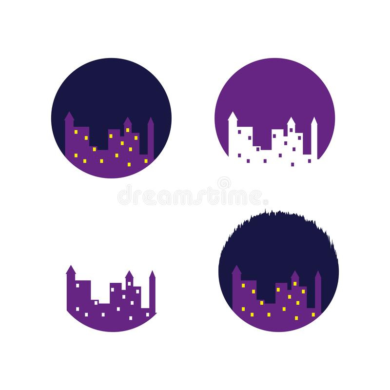 Ajuste das silhuetas cartoony da casa Cidade da noite Ilustração do vetor ilustração stock