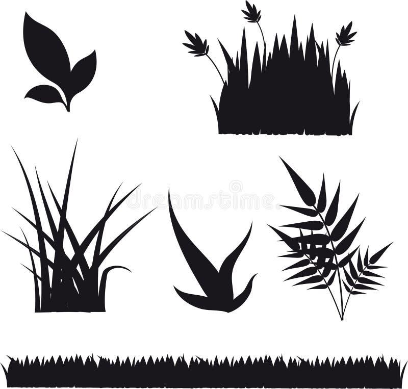 Ajuste das silhuetas da grama e da planta ilustração do vetor