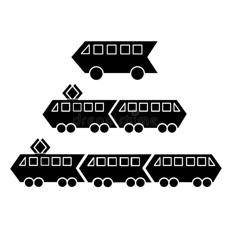 Ajuste das silhuetas de bondes pretos do metro e trens elétricos com os dois ou três carros e ônibus Plano do ?cone do vetor simp ilustração royalty free