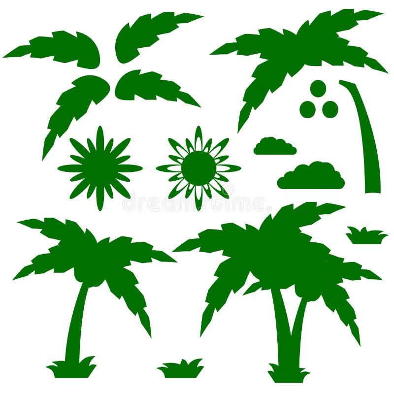 Ajuste das silhuetas de uma palmeira dos desenhos animados com sol, nuvens e grama ilustração royalty free