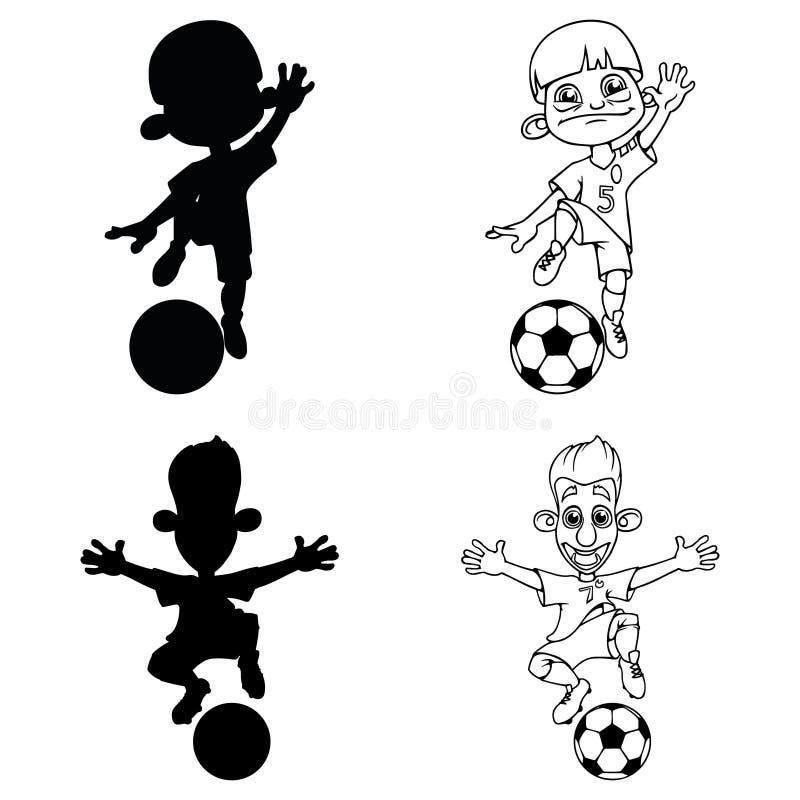 Ajuste das silhuetas e de um contorno dos jogadores de futebol que jogam a bola ilustração stock