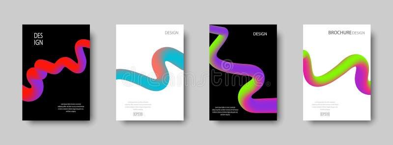 Ajuste das tampas abstratas na moda com formas líquidas da cor para o fundo da composição Projeto na moda para cartazes Projeto f ilustração do vetor
