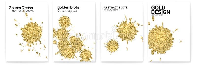 Ajuste das tampas com espirra e borra Texturas tiradas mão, efeito de brilho, formas abstratas da poeira dourada, arte do vetor ilustração royalty free