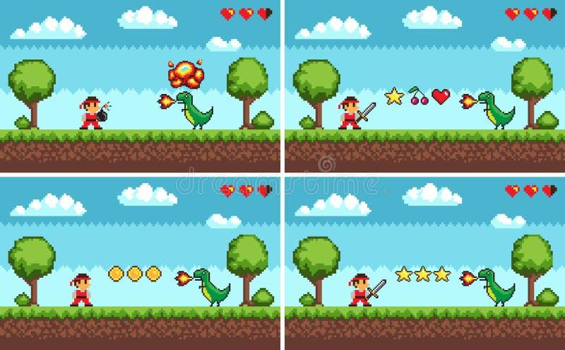 Ajuste das telas do vetor colorido nivelado do jogo do pixel ilustração royalty free