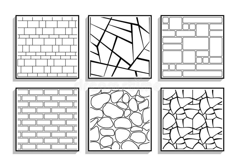 Ajuste das texturas de pedra sem emenda Testes padrões preto e branco de bric ilustração stock