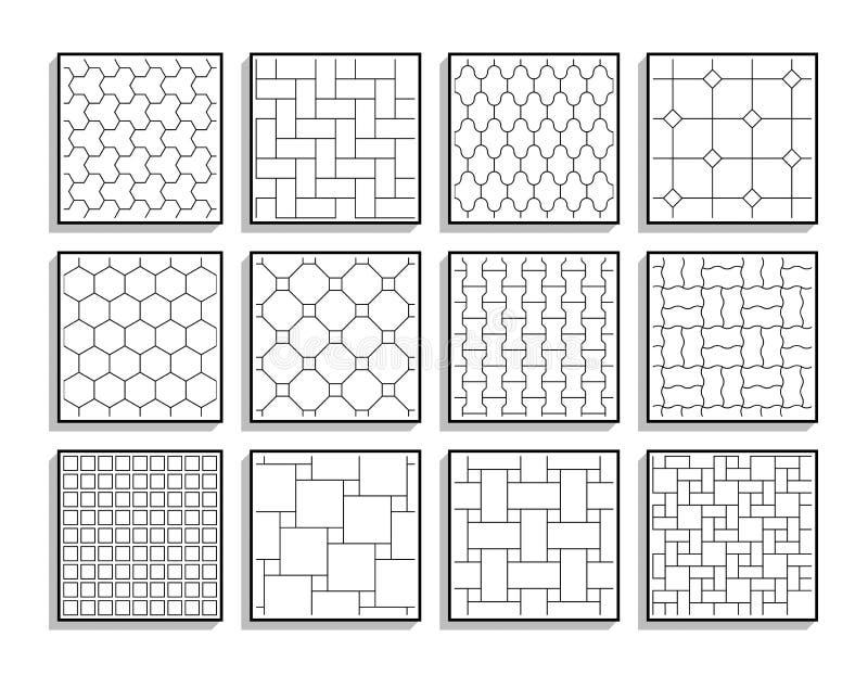 Ajuste das texturas sem emenda do pavimento Telhas de assoalho preto e branco ilustração do vetor