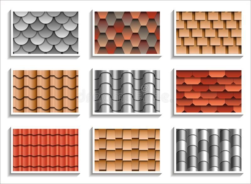 Ajuste das texturas sem emenda das telhas de telhado testes padrões 3D de materiais do telhado ilustração stock