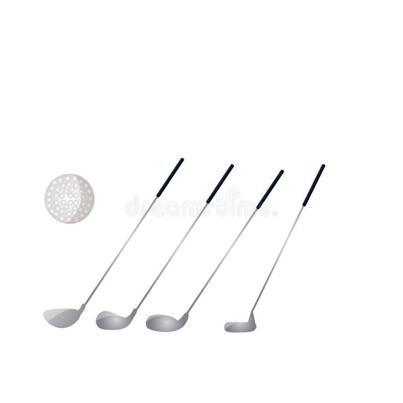 Ajuste das varas do metal do golfe com a bola branca para o campeonato ilustração royalty free