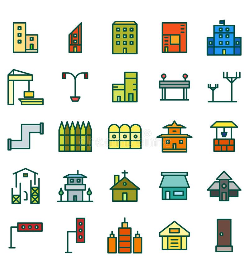 Ajuste de ícone ou do símbolo liso da construção e da ilustração do vetor da cor da cidade dos bens imobiliários Curso edit?vel e ilustração royalty free