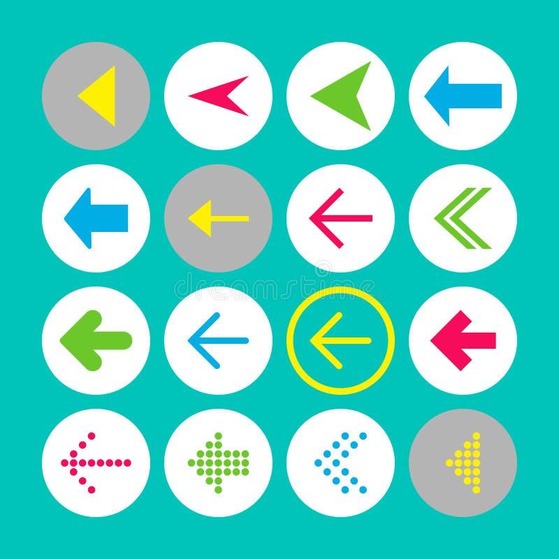 Ajuste de 16 ícones da seta esquerda Botões da seta no fundo de turquesa nos círculos brancos, cinzentos e transparentes ilustração do vetor