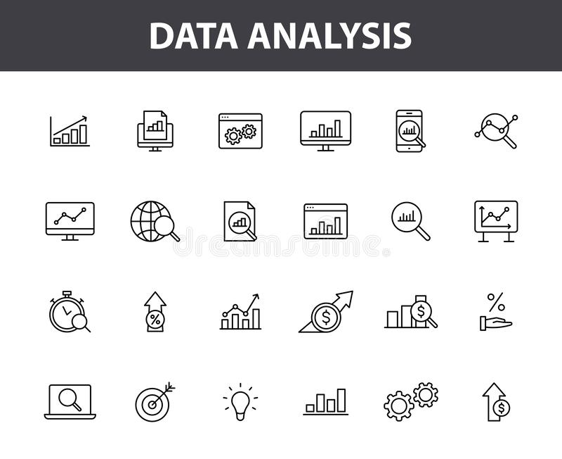 Ajuste de 24 ícones da Web da análise de dados na linha estilo Gráficos, análise, Big Data, crescimento, carta, pesquisa Ilustraç ilustração stock