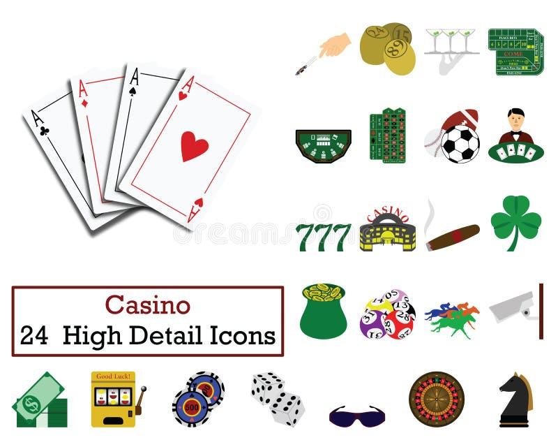 Ajuste de 24 ícones do casino ilustração do vetor