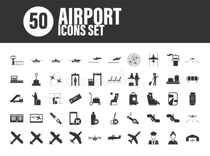 Ajuste de 50 ícones mínimos e contínuos do aeroporto no fundo branco ilustração do vetor