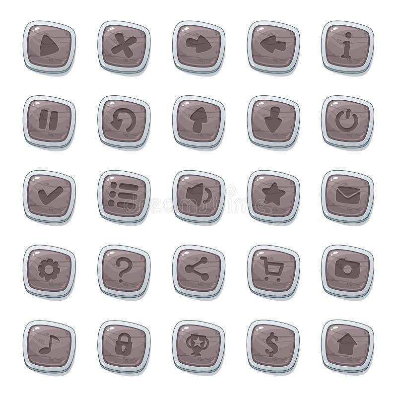 Ajuste de 25 ícones de pedra nos quadros brancos isolados no fundo branco para a interface de usuário do jogo Molde móvel dos ele ilustração stock