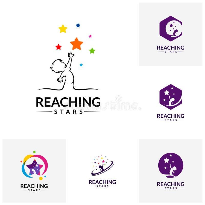 Ajuste de alcançar estrelas Logo Design Template Logotipo ideal da estrela Emblema, símbolo colorido, criativo, ícone ilustração royalty free