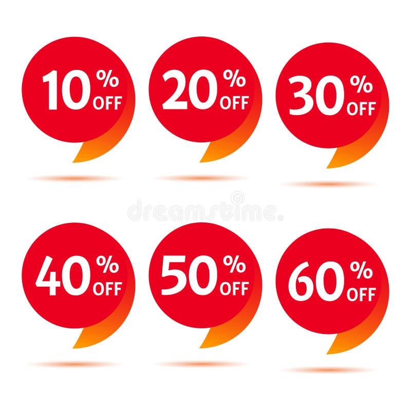 Ajuste de anunciar a etiqueta com ofertas diferentes do desconto Ilustração do vetor ilustração stock