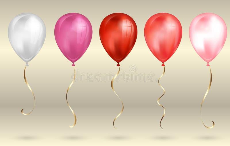 Ajuste de 5 balões realísticos vermelhos e cor-de-rosa brilhantes do hélio 3D para seu projeto r ilustração royalty free