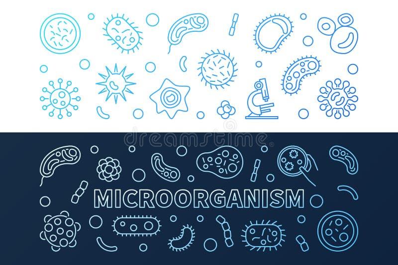 Ajuste de 2 bandeiras criativas azuis do esboço do vetor do micro-organismo ilustração stock