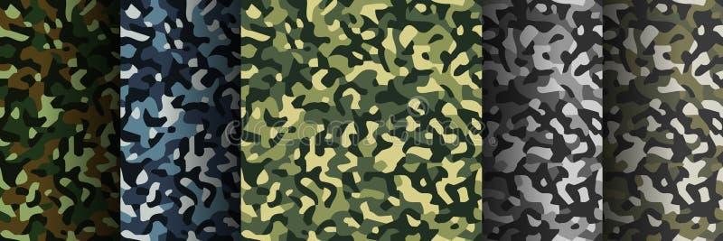 Ajuste de 5 blocos camuflam testes padrões sem emenda Fundo militar moderno da cópia de matéria têxtil do sumário Ilustração do v ilustração royalty free