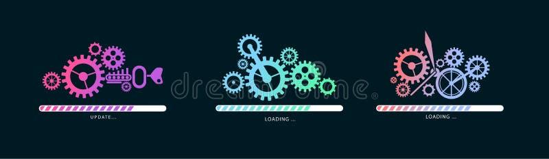 Ajuste de carregar ou de atualizar arquivos com ilustração do mecanismo Vetor ilustração do vetor