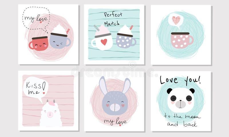 Ajuste de 6 cartões do vetor no tema de Valentine Day com animais, copos ilustração stock