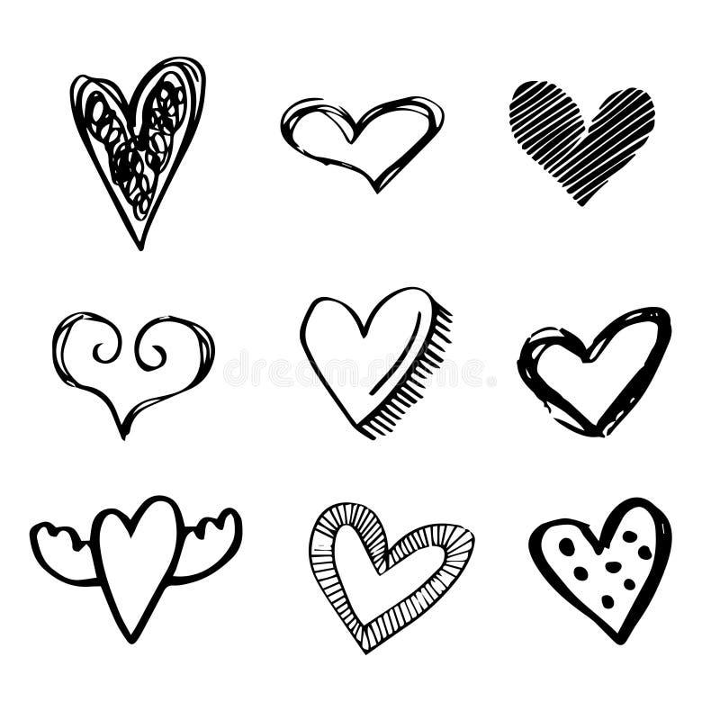 Ajuste de 9 corações tirados mão ilustração do vetor