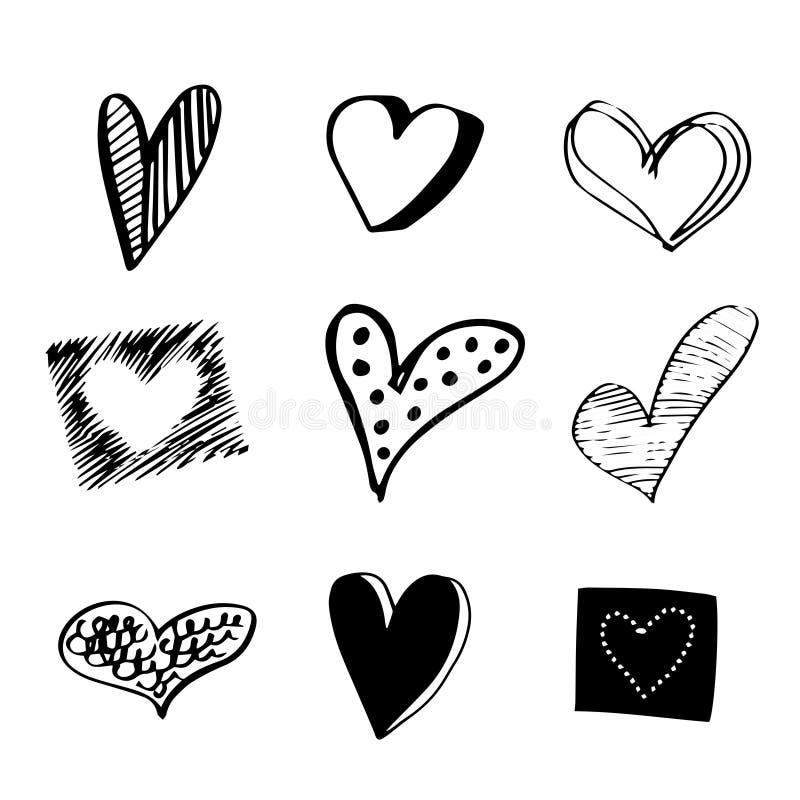 Ajuste de 9 corações tirados mão ilustração stock