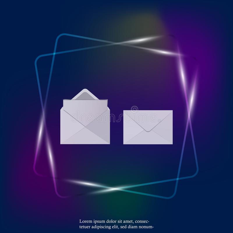 Ajuste de dois envelopes realísticos vazios para o ícone claro de néon dos documentos Horizontalmente um ícone do molde do envelo ilustração do vetor