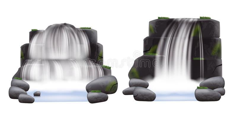 Ajuste de duas cachoeiras que fluem das rochas e do estilo realístico das pedras ilustração stock